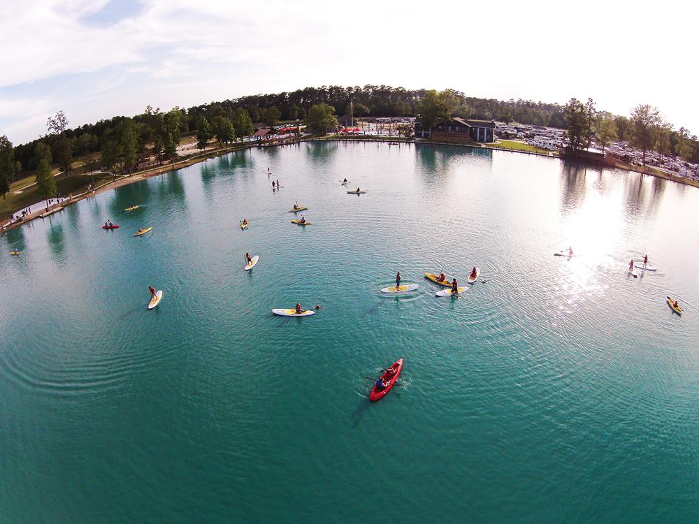 Aerial view of the lake at Reunion Lake RV Resort