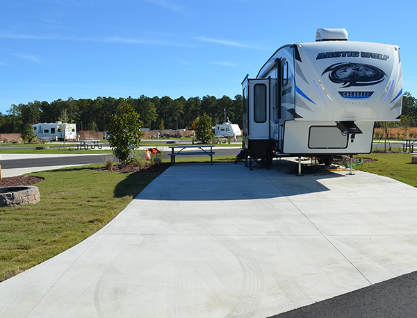 Carolina Pines RV Resort Back In Deluxe RV Site 5th Wheel in Conway, SC